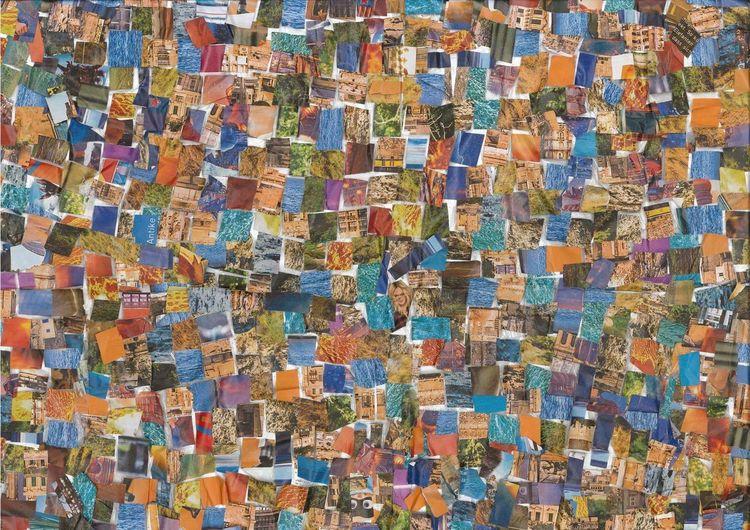 Collage, Bunt, Farben, Mischtechnik, Lachen, Start