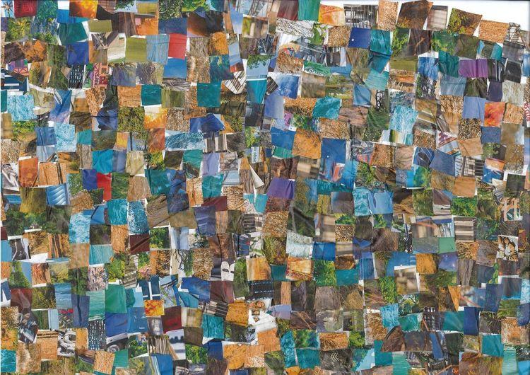 Collage, Bunt, Farben, Mischtechnik, Kraft