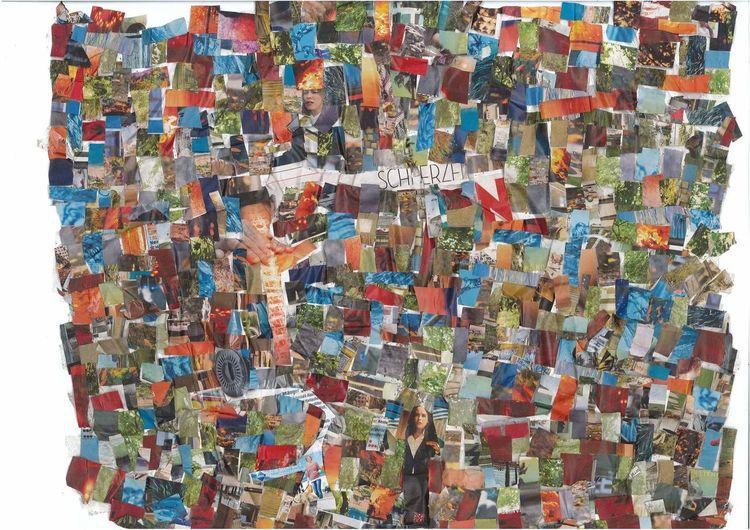 Collage, Bunt, Farben, Mischtechnik, Stille, Post