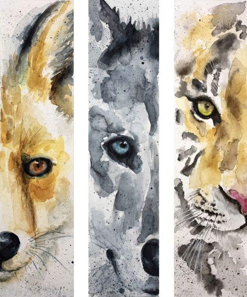 Lesezeichen, Wolf, Tiere, Realismus, Fuchs, Aquarellmalerei