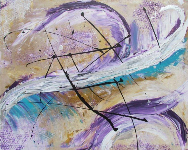 Acrylmalerei, Blau, Feder, Modern art, Gold, Lila