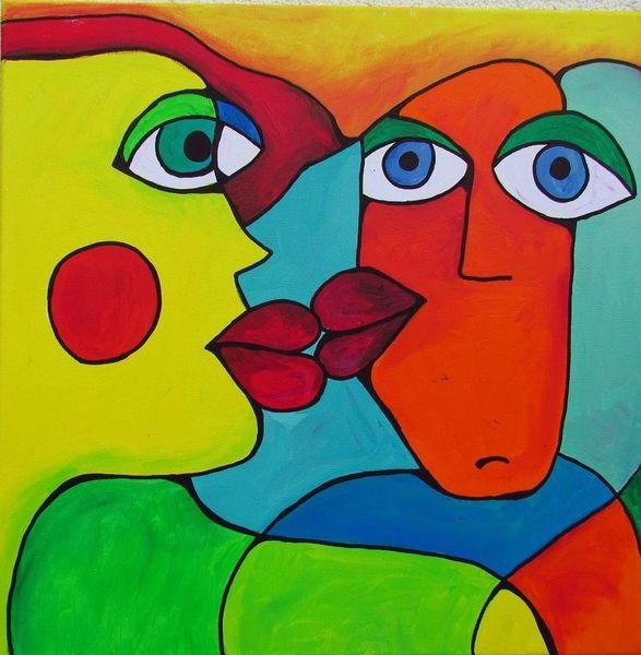 Blau, Acrylmalerei, Grün, Menschen, Portrait, Orange