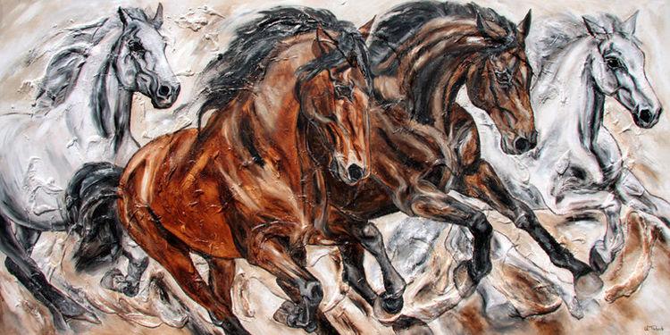 Tiere, Pferde, Pferdeherde, Pferdeportrait, Malerei
