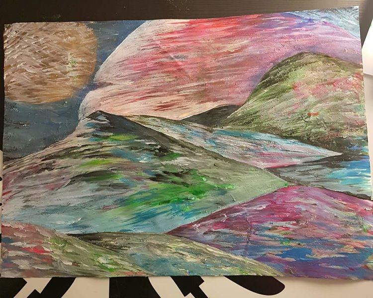 Nacht, Bunt, Landschaft, Malerei