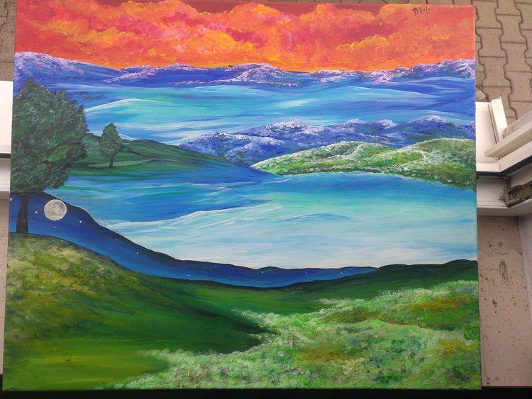 Impressionismus, Sonnenuntergang, Landschaft, Wasser, Multi, Malerei