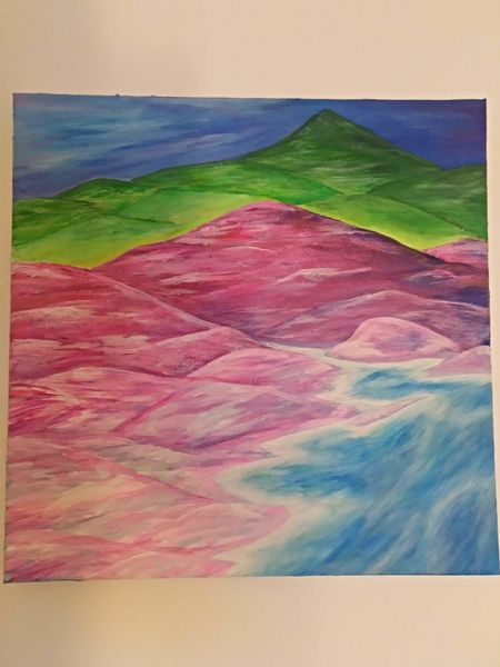 Fluss, Neon, Bucht, Surreal, Malerei, Idylle