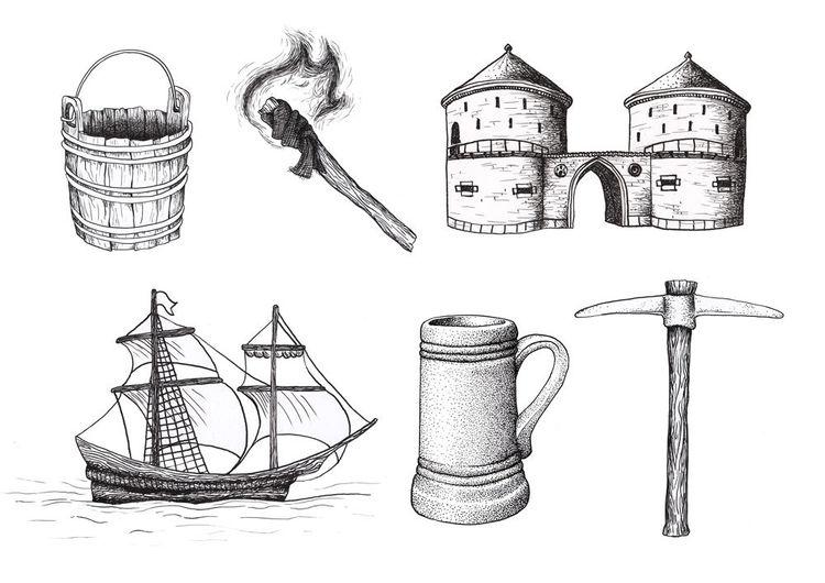 Tor, Federzeichnung, Krug, Geschichte, Feuer, Schiff