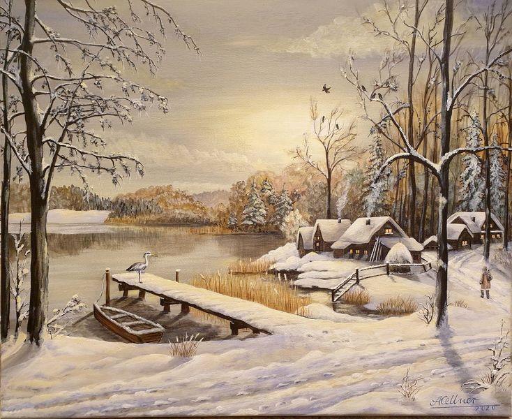 Steg, Boot, Baum, Schnee, Winter, Malerei