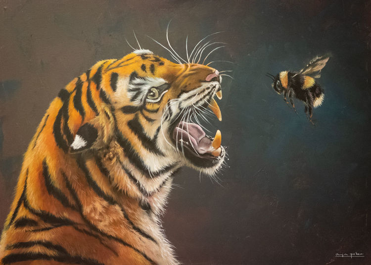 Fauchen, Acrylmalerei, Fell, Tiger, Dunkel, Schwarz