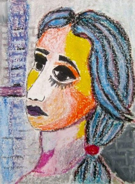 Blau, Pastellmalerei, Gelb, Violett, Frau, Orange