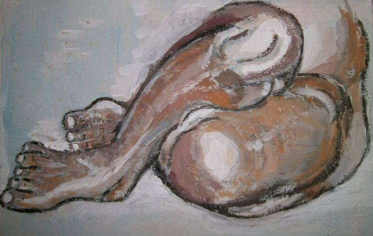 Blau, Orange, Bein, Grau, Malerei, Menschen