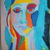 Portrait, Temperamalerei, Bunt, Mädchen