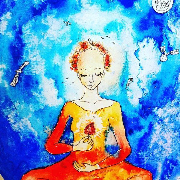 Meditation, Blätter, Herbst, Aquarellmalerei, Geist, Aquarell