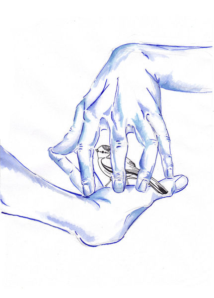 Aquarellmalerei, Hand, Surreal, Vogel, Aquarell