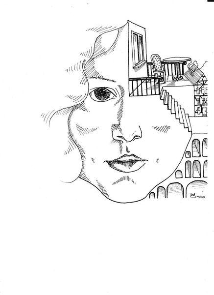 Weiß, Selbstportrait, Schwarz, Zeichnungen