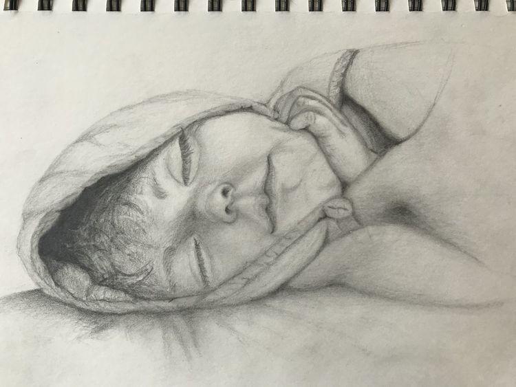 Schlaf, Bleistiftzeichnung, Schlafendes mädchen, Portrait, Schwarz weiß, Kind
