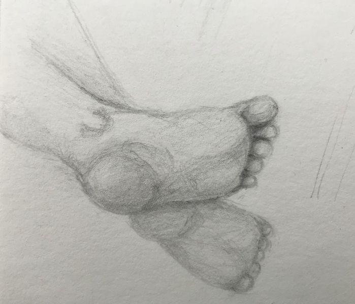 Kind, Zeichnung, Skizze, Fuß, Bleistiftzeichnung, Zeichnungen