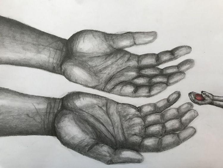 Herz, Vertrauen, Weiß, Menschen, Bleistiftzeichnung, Hand