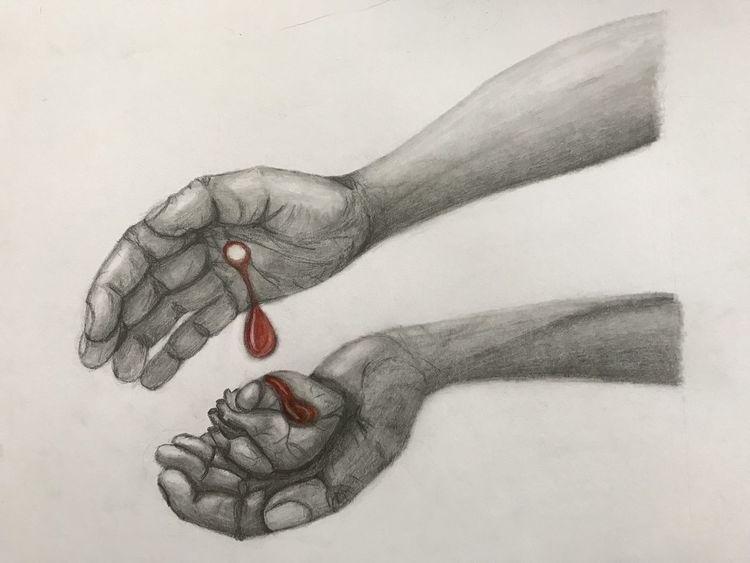 Blut, Buntstiftzeichnung, Weiß, Jesus, Glaube, Rot