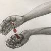 Blut, Buntstiftzeichnung, Weiß, Jesus