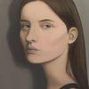 Mädchen, Grau, Farben, Portrait
