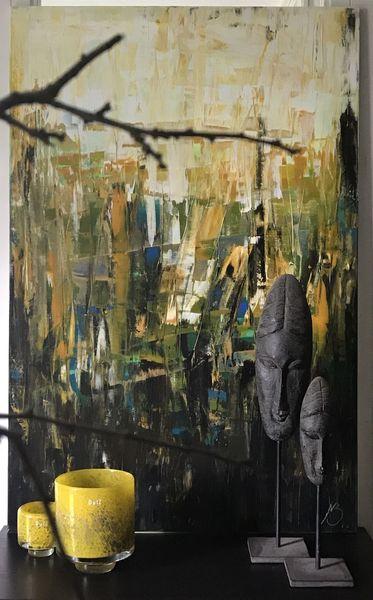 Spachteltechnik, Gold, Abstrakt, Gelb, Ocker, Acrylmalerei