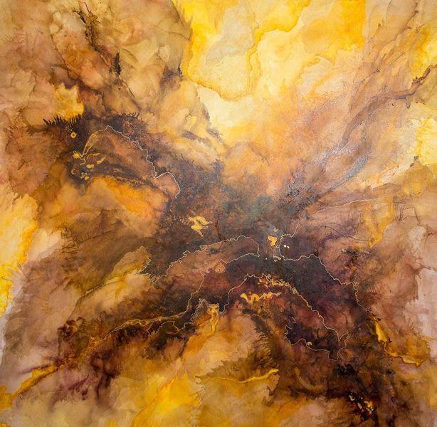 Braun, Abstrakt, Gold, Acrylmalerei, Aquarellmalerei, Ocker