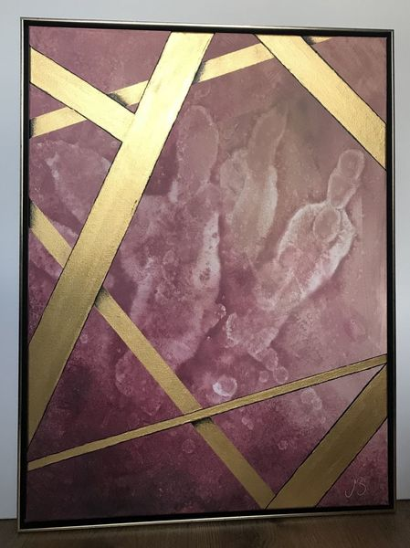 Acrylmalerei, Farben, Rosa, Abstrakt, Gold, Modern