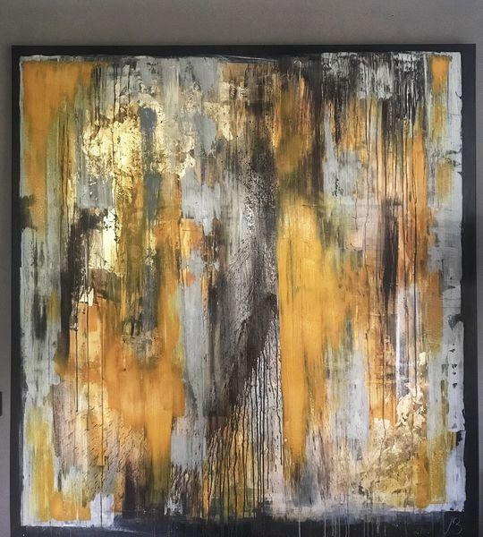 Gelb, Gold, Abstrakt, Spachteltechnik, Braun, Grau