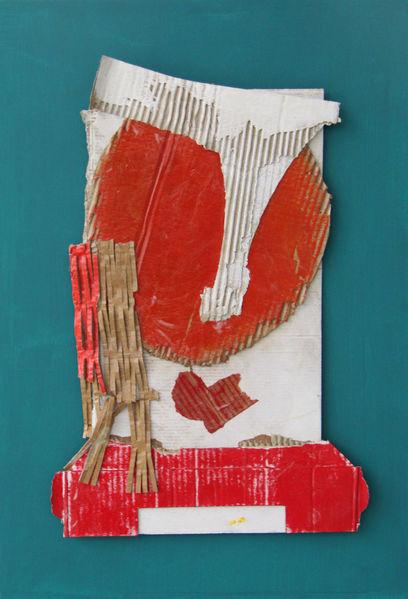 Abstrakt, Gesicht, Collage, Pappe, Holz, Mischtechnik