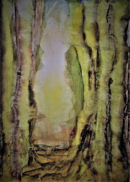 Baum, Landschaft, Aquarellmalerei, Wald, Skizze, Sonne