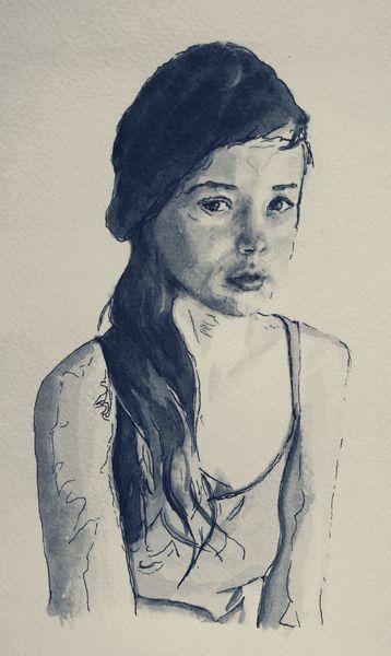 Portrait, Gesicht, Mädchen, Mischtechnik