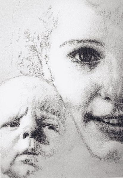 Bindung, Mutter, Portrait, Baby, Zeichnungen