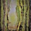 Sonne, Wald, Baum, Aquarellmalerei