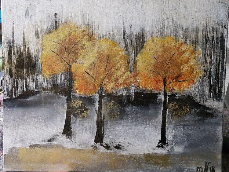 Acrylmalerei, Goldene bäume, Blumen, Malerei