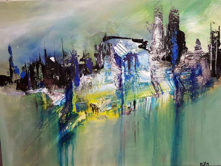 Fantasie, Stadt, Abstrakt, Malerei