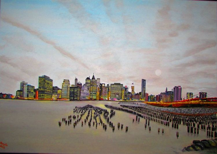 Ölmalerei, Nacht, New york, Stadt, Licht, Fluss