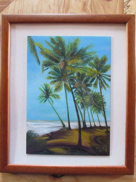 Ölmalerei, Meer, Palmen, Wasser, Strand, Welle