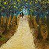 Weg, Wald, Paar, Malerei