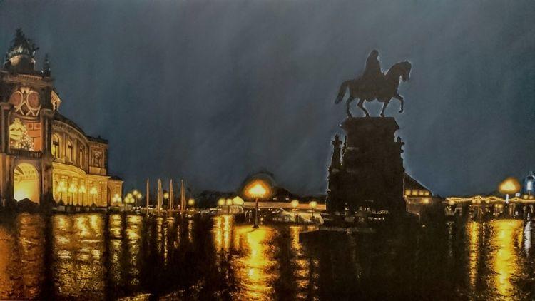 Licht, Reflexion, Nacht, Ölmalerei, Regen, Malerei