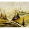 Landschaft, Malerei, Nebel, Aquarellmalerei