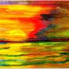 Sonnenuntergang, Fehmarn, Aquarellstifte, Aquarell