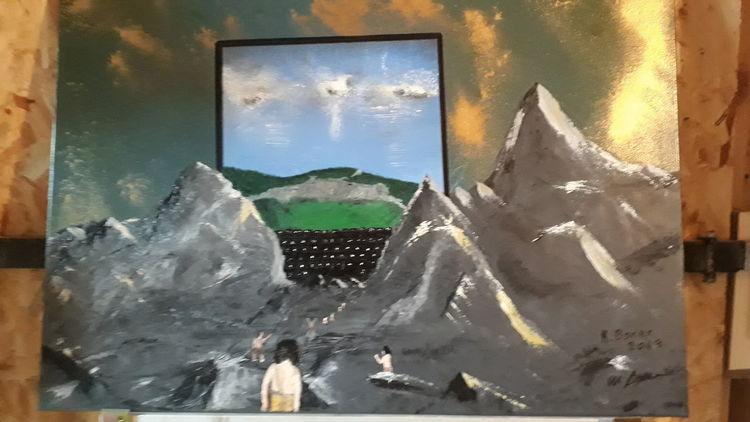 Menschen, Modern art, Landschaft, Malerei, Ende, Anfang