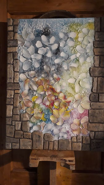 Abstrakt, Blumen, Farben, Mischtechnik, Technik, Mauer