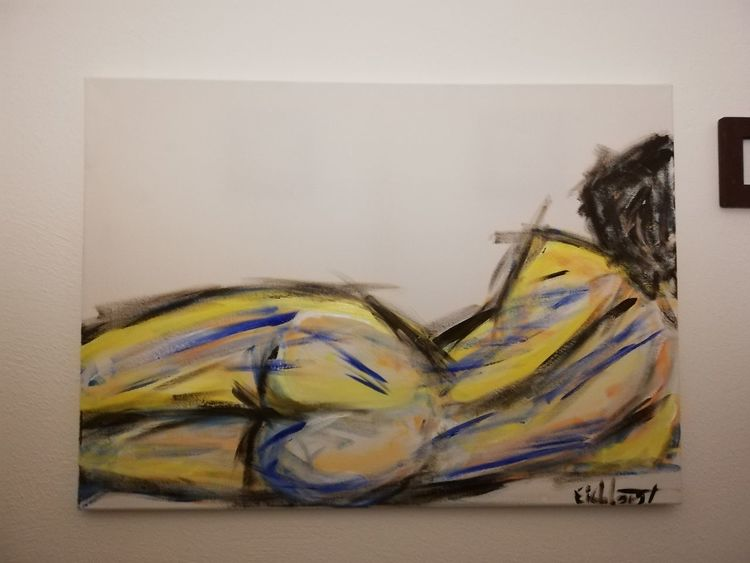 Liegender akt, Acrylmalerei, Malerei,
