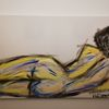 Malerei, Liegender akt, Acrylmalerei,