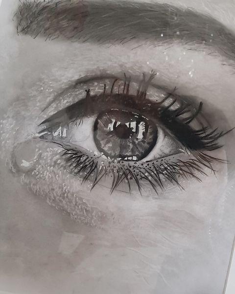 Tränen, Zeichnung, Portrait, Augen, Schwarzweiß, Weinen
