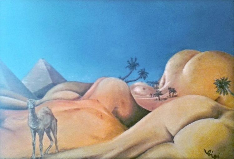 Ölmalerei, Menschen, Wüste, Traum, Surreal, Malerei
