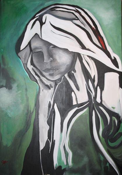 Grün, Portrait, Acrylmalerei, Malerei, Gesicht, Schwarz