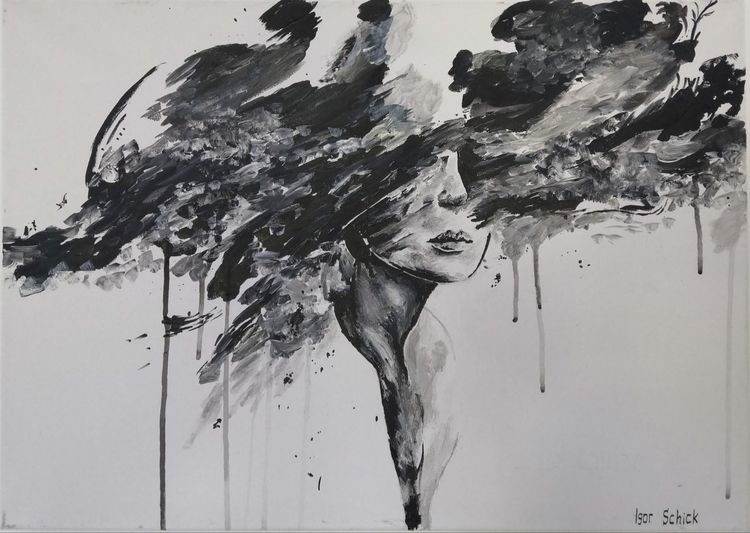 Frau, Farben, Acrylmalerei, Malerei, Gedanken, Mädchen